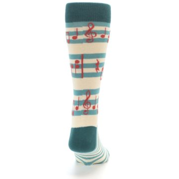 Image of Teal Music Notes Men's Dress Socks (back-19)