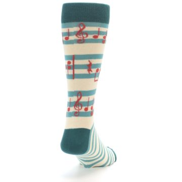 Image of Teal Music Notes Men's Dress Socks (side-1-back-20)