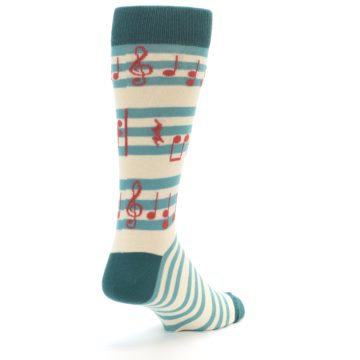 Image of Teal Music Notes Men's Dress Socks (side-1-back-21)