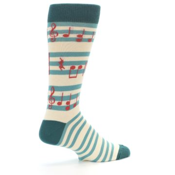 Image of Teal Music Notes Men's Dress Socks (side-1-23)