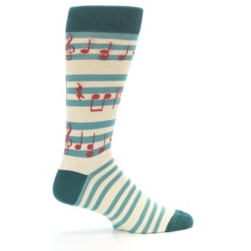 Image of Teal Music Notes Men's Dress Socks (side-1-24)