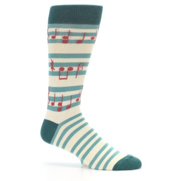 Image of Teal Music Notes Men's Dress Socks (side-1-25)