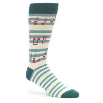 Image of Teal Music Notes Men's Dress Socks (side-1-26)