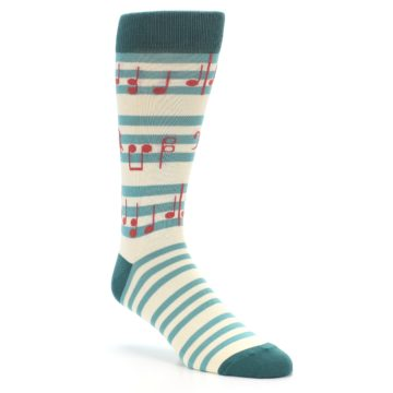 Image of Teal Music Notes Men's Dress Socks (side-1-27)