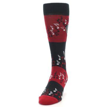 Image of Red Singing Music Notes Men's Dress Socks (side-2-front-06)
