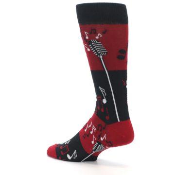 Image of Red Singing Music Notes Men's Dress Socks (side-2-back-14)