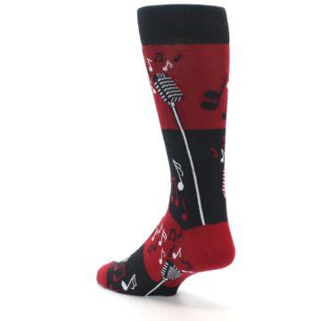Image of Red Singing Music Notes Men's Dress Socks (side-2-back-15)