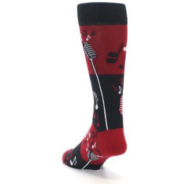 Image of Red Singing Music Notes Men's Dress Socks (side-2-back-16)