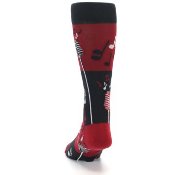 Image of Red Singing Music Notes Men's Dress Socks (back-17)