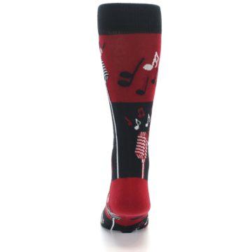Image of Red Singing Music Notes Men's Dress Socks (back-18)