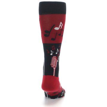 Image of Red Singing Music Notes Men's Dress Socks (back-19)