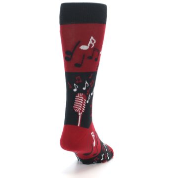 Image of Red Singing Music Notes Men's Dress Socks (side-1-back-20)