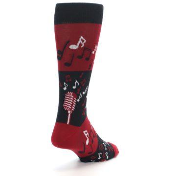 Image of Red Singing Music Notes Men's Dress Socks (side-1-back-21)
