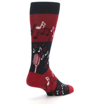 Image of Red Singing Music Notes Men's Dress Socks (side-1-back-22)