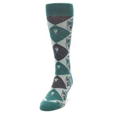 Image of Green Grey Travel Airplane Men's Dress Socks (side-2-front-06)