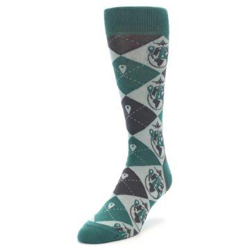 Image of Green Grey Travel Airplane Men's Dress Socks (side-2-front-07)
