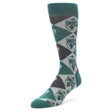 Image of Green Grey Travel Airplane Men's Dress Socks (side-2-front-08)