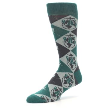 Image of Green Grey Travel Airplane Men's Dress Socks (side-2-09)