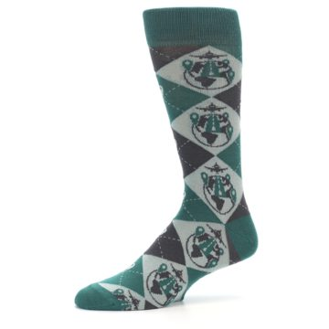 Image of Green Grey Travel Airplane Men's Dress Socks (side-2-10)
