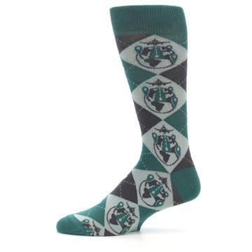 Image of Green Grey Travel Airplane Men's Dress Socks (side-2-11)