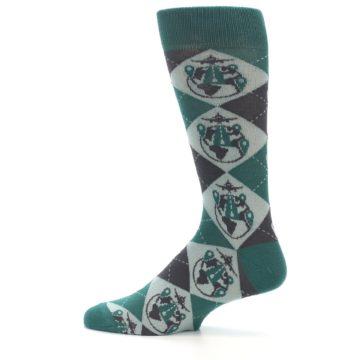 Image of Green Grey Travel Airplane Men's Dress Socks (side-2-12)