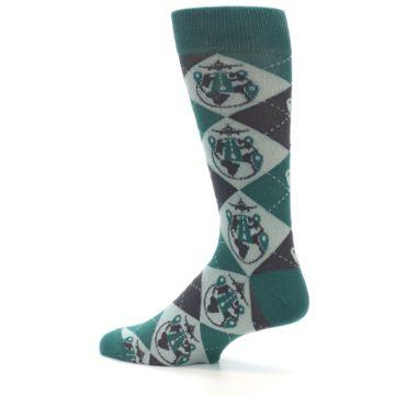 Image of Green Grey Travel Airplane Men's Dress Socks (side-2-13)
