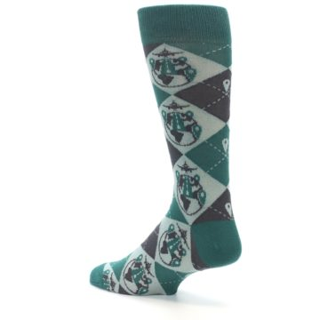 Image of Green Grey Travel Airplane Men's Dress Socks (side-2-back-14)