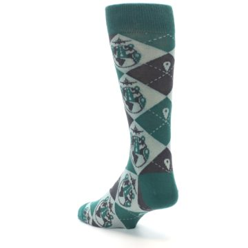Image of Green Grey Travel Airplane Men's Dress Socks (side-2-back-15)