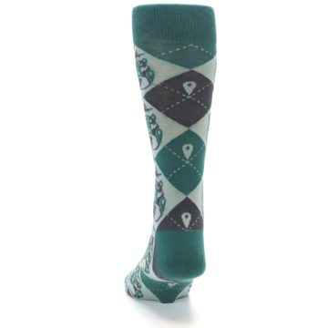 Image of Green Grey Travel Airplane Men's Dress Socks (back-17)