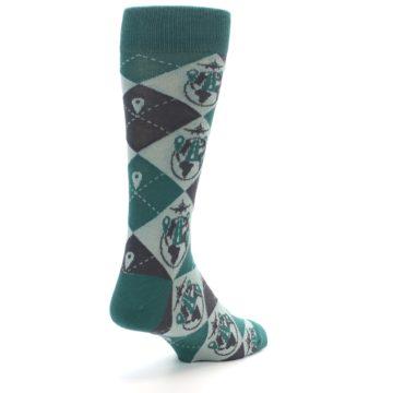 Image of Green Grey Travel Airplane Men's Dress Socks (side-1-back-21)