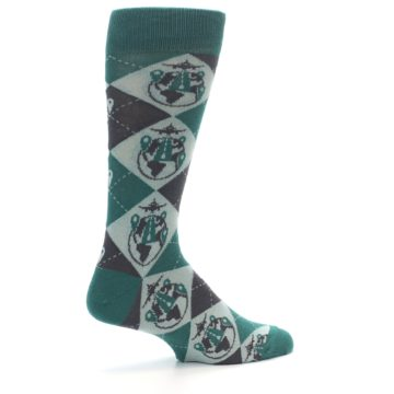 Image of Green Grey Travel Airplane Men's Dress Socks (side-1-23)