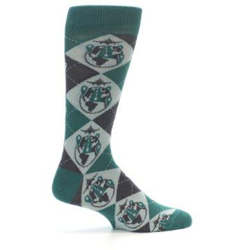 Image of Green Grey Travel Airplane Men's Dress Socks (side-1-24)