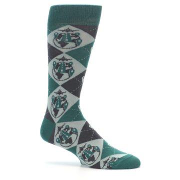 Image of Green Grey Travel Airplane Men's Dress Socks (side-1-25)