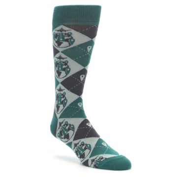 Image of Green Grey Travel Airplane Men's Dress Socks (side-1-27)