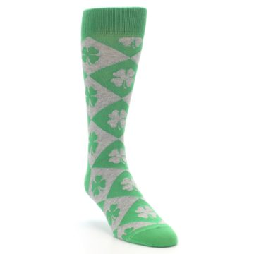 Image of Green Grey Four-Leaf Clover Men's Dress Socks (side-1-front-02)