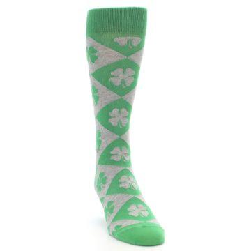 Image of Green Grey Four-Leaf Clover Men's Dress Socks (side-1-front-03)