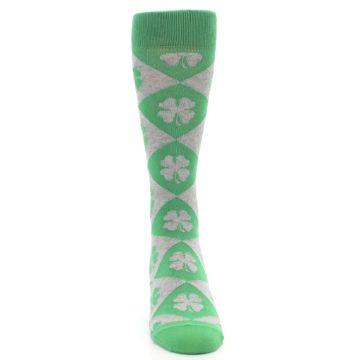 Image of Green Grey Four-Leaf Clover Men's Dress Socks (front-04)
