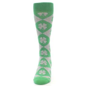 Image of Green Grey Four-Leaf Clover Men's Dress Socks (front-05)