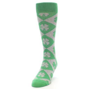 Image of Green Grey Four-Leaf Clover Men's Dress Socks (side-2-front-06)
