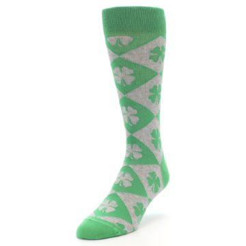 Image of Green Grey Four-Leaf Clover Men's Dress Socks (side-2-front-07)