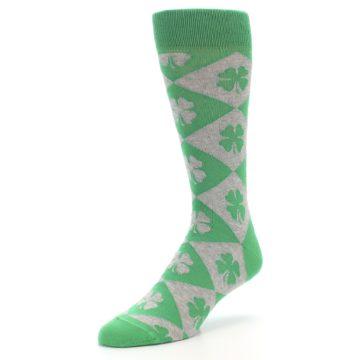 Image of Green Grey Four-Leaf Clover Men's Dress Socks (side-2-front-08)