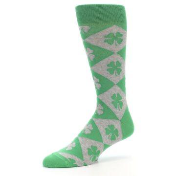 Image of Green Grey Four-Leaf Clover Men's Dress Socks (side-2-09)