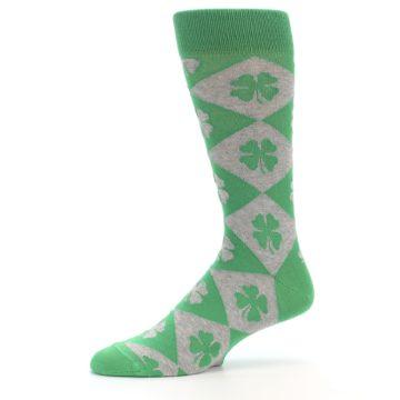 Image of Green Grey Four-Leaf Clover Men's Dress Socks (side-2-10)