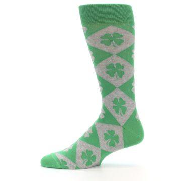 Image of Green Grey Four-Leaf Clover Men's Dress Socks (side-2-11)