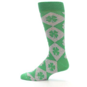 Image of Green Grey Four-Leaf Clover Men's Dress Socks (side-2-12)