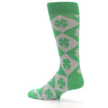 Image of Green Grey Four-Leaf Clover Men's Dress Socks (side-2-13)