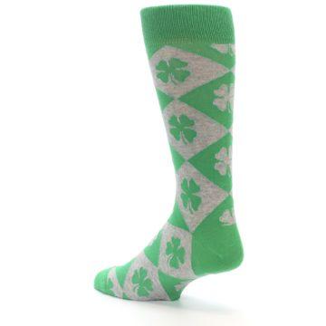 Image of Green Grey Four-Leaf Clover Men's Dress Socks (side-2-back-14)