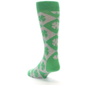 Image of Green Grey Four-Leaf Clover Men's Dress Socks (side-2-back-15)
