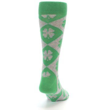 Image of Green Grey Four-Leaf Clover Men's Dress Socks (back-19)
