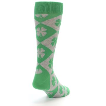 Image of Green Grey Four-Leaf Clover Men's Dress Socks (side-1-back-20)